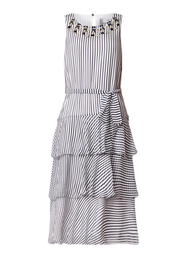 L.K.Bennett Nesta midi-jurk met volant en strass donkerblauw