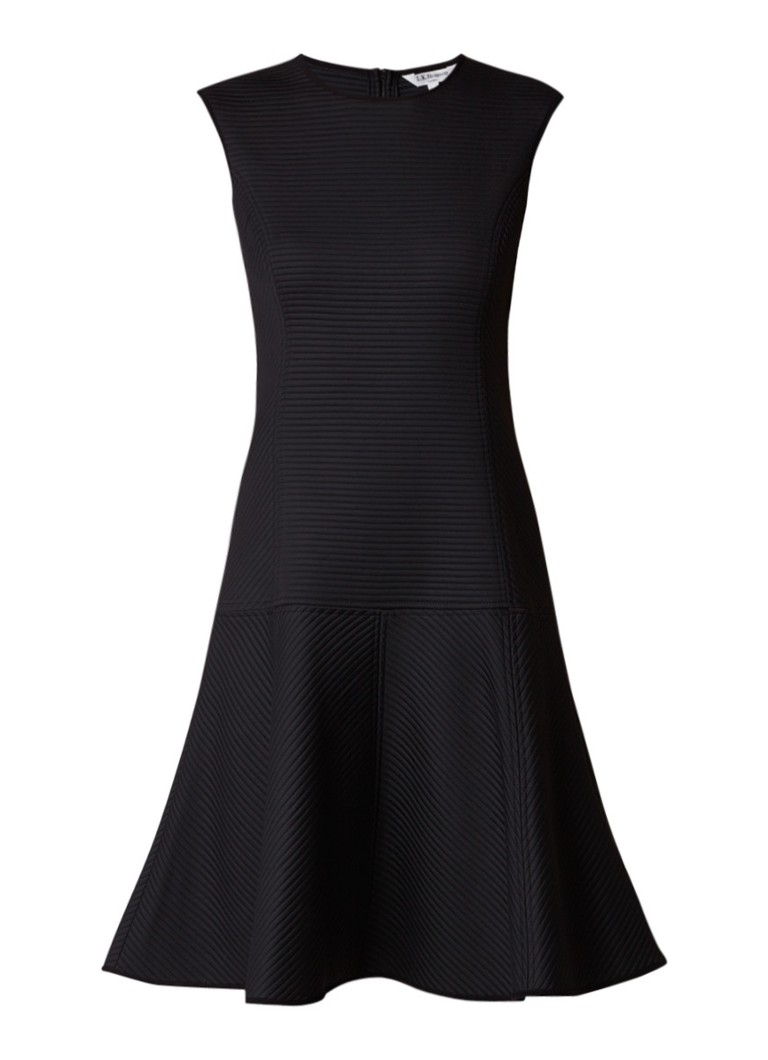 L.K.Bennett Fae A-lijn jurk met ribstructuur zwart