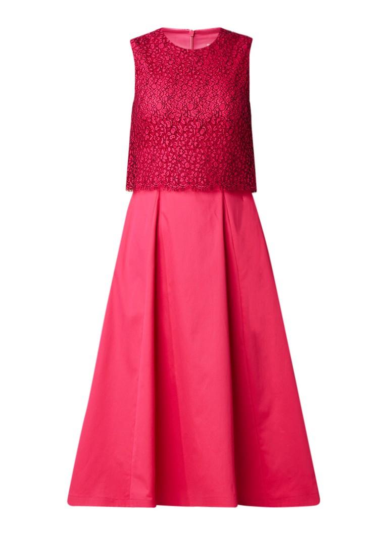 L.K.Bennett Alecia A-lijn jurk met overlay van kant fuchsia