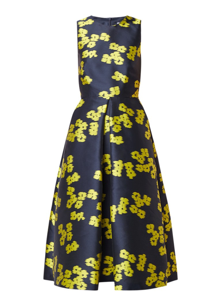 L.K.Bennett Sana A-lijn jurk met steekzakken en abstract bloemendessin lime