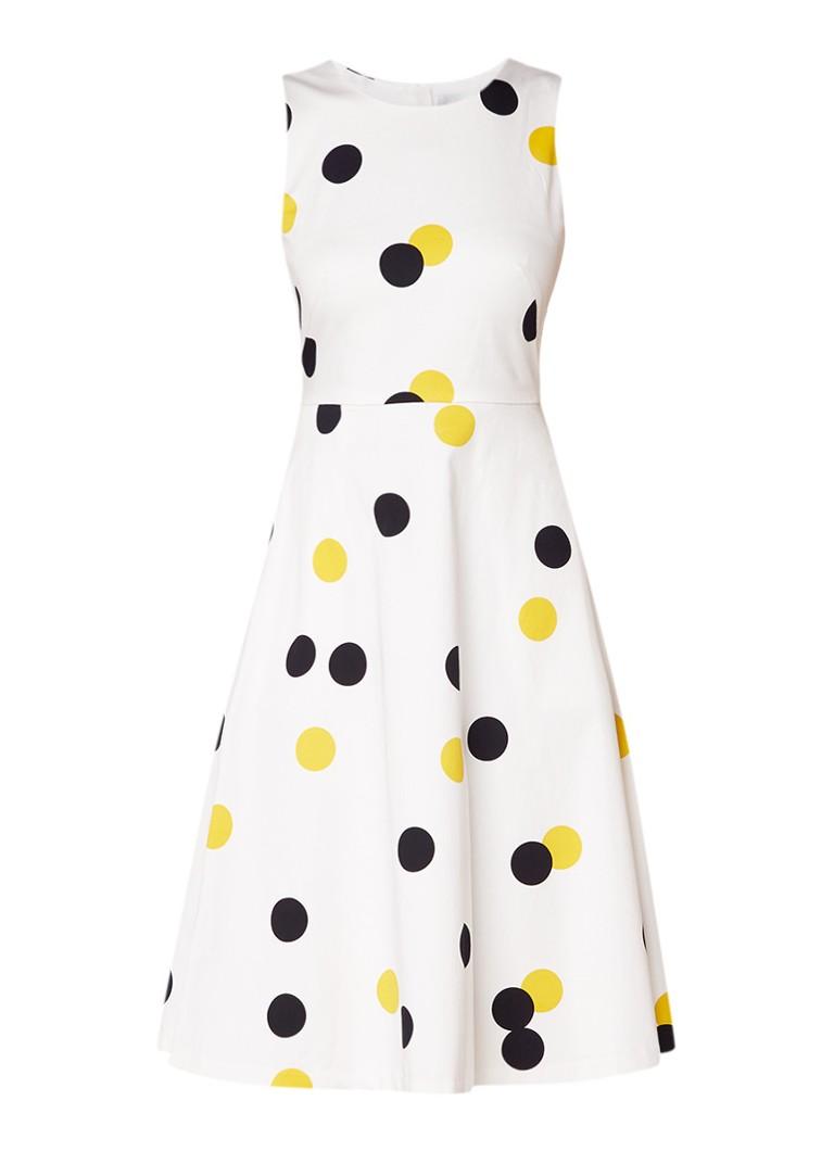 L.K.Bennett Mouwloze A-lijn jurk met polkadots gebroken wit