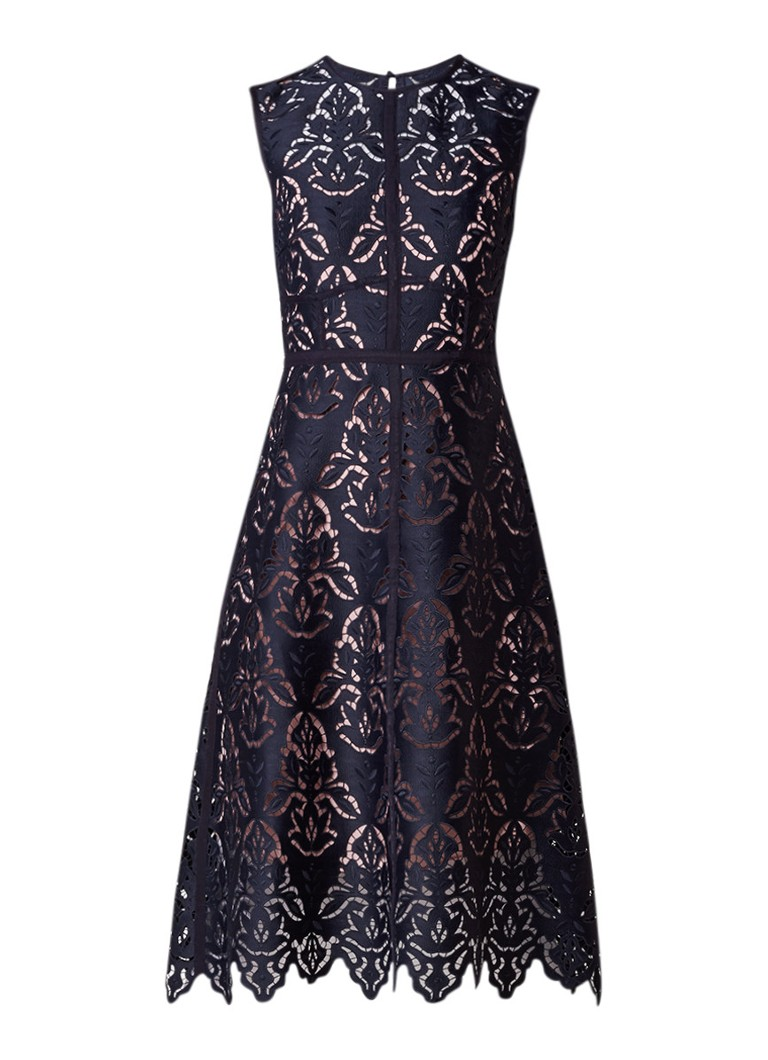 L.K.Bennett Marie midi-jurk van guipure kant met geschulpte zoom donkerblauw