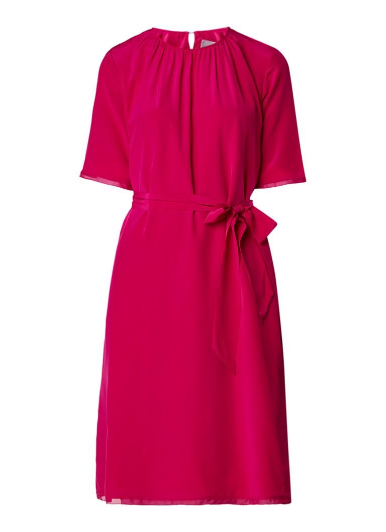 L.K.Bennett Persis loose fit midi-jurk van zijde met strikceintuur fuchsia
