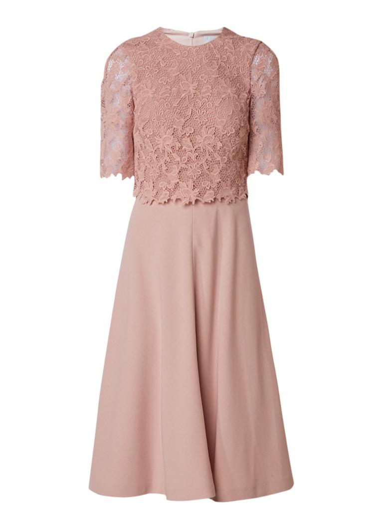 L.K.Bennett Etta A-lijn jurk met top van kant roze