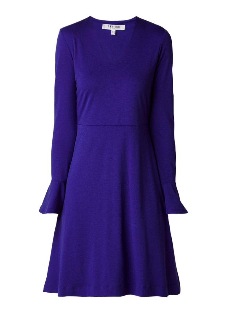 L.K.Bennett Amano A-lijn jurk met volantmouw paars