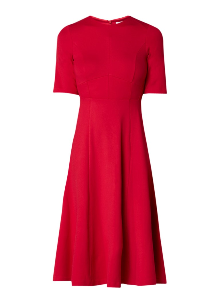 L.K.Bennett Beth A-lijn midi-jurk van jersey cranberryrood