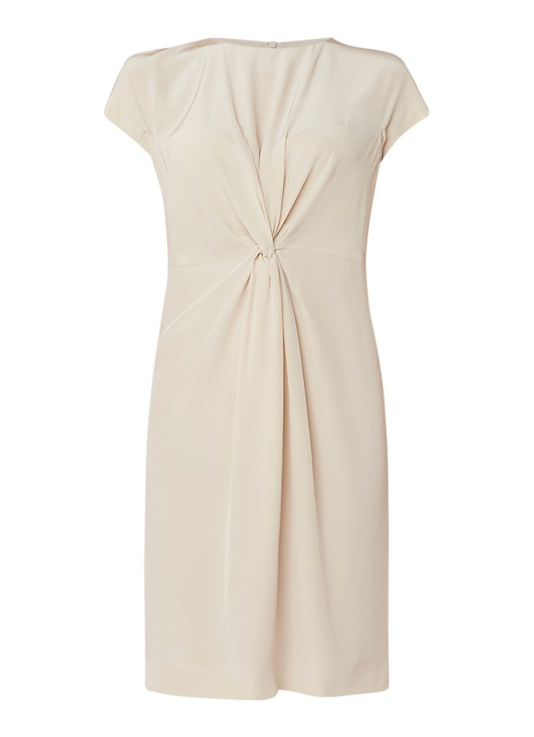 L.K.Bennett Milas jurk van zijdecrêpe met knoopdetail beige