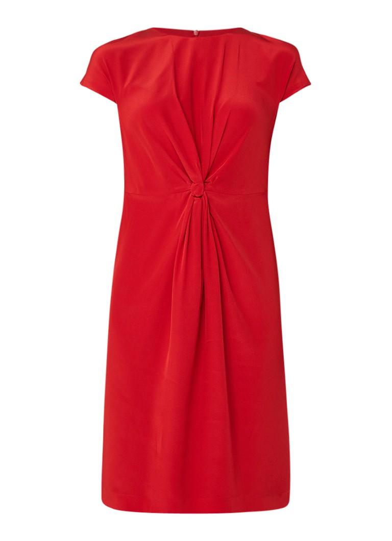 L.K.Bennett Milas jurk van zijdecrêpe met knoopdetail rood