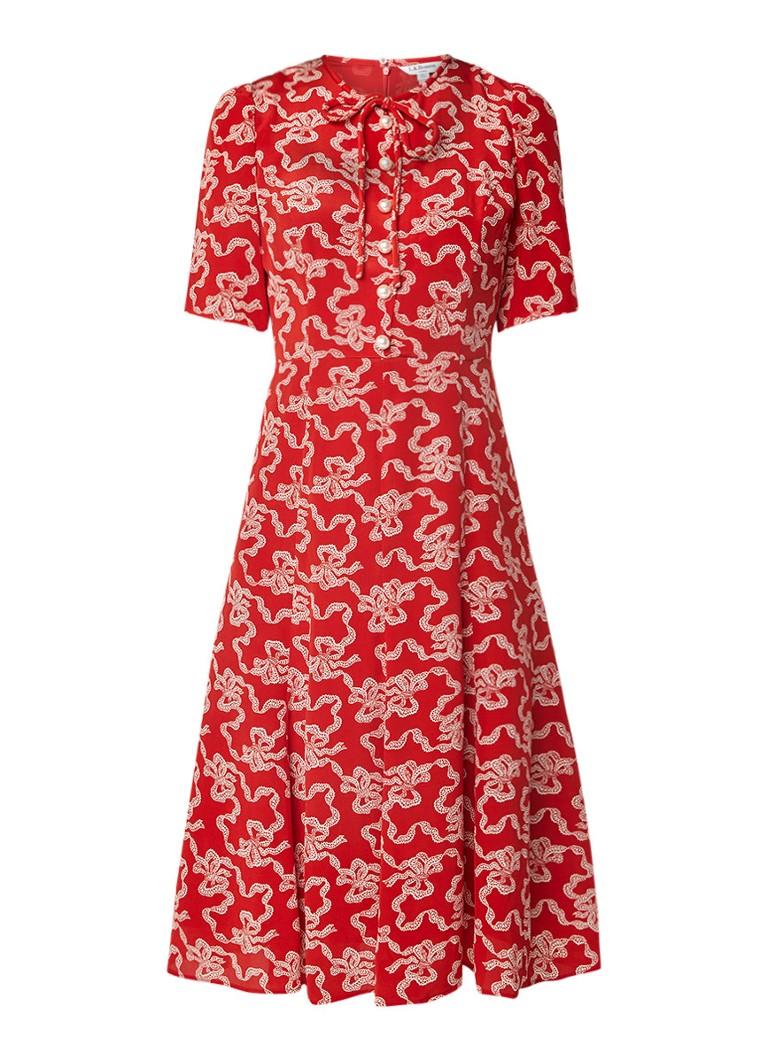 L.K.Bennett Montana A-lijn jurk met imitatieparels rood