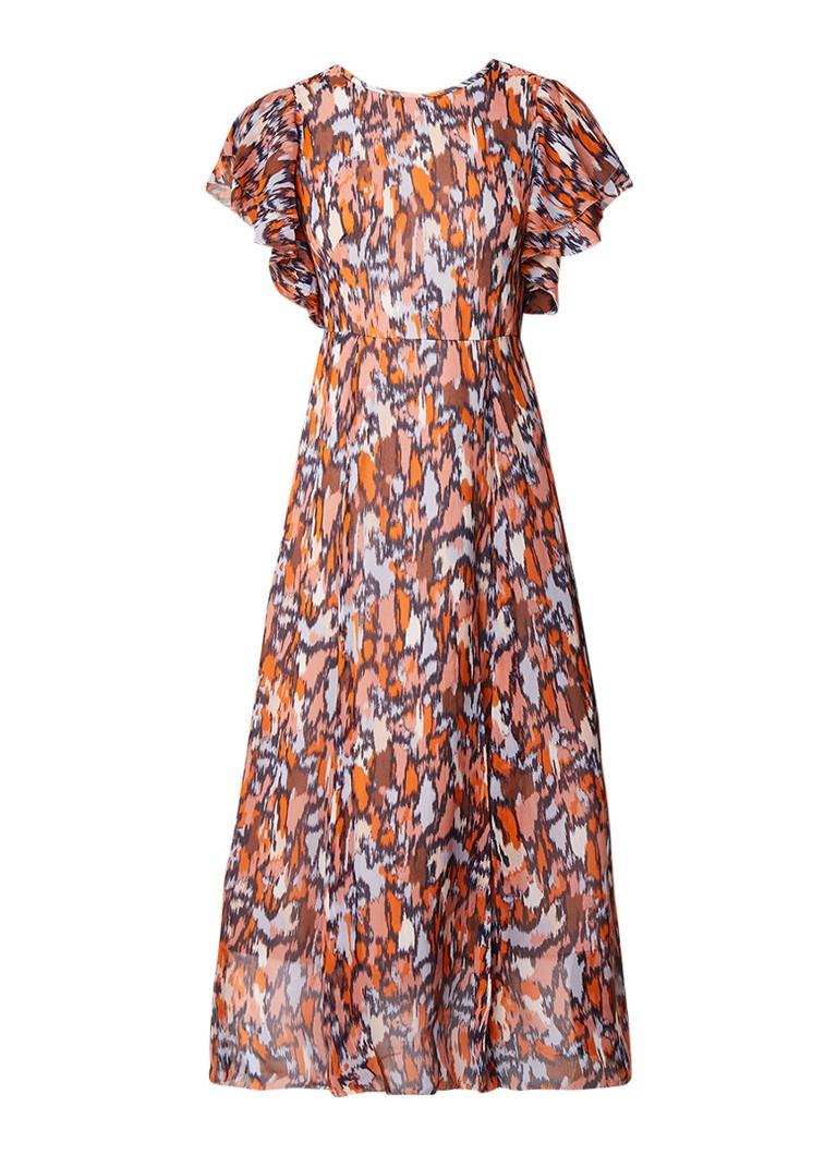 L.K.Bennett Agnes maxi-jurk van zijde met abstract dessin oranje