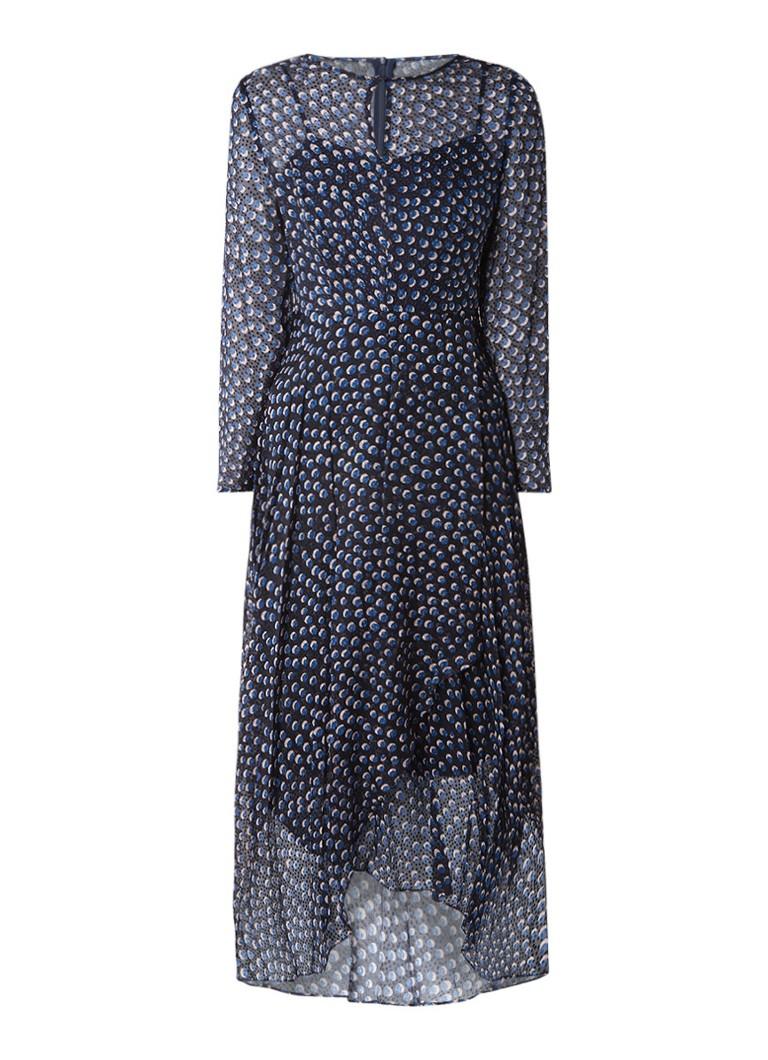 L.K.Bennett Beya semi-transparante maxi-jurk met onderjurk donkerblauw