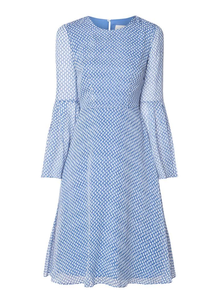 L.K.Bennett Abbie A-lijn jurk met stippendessin staalblauw