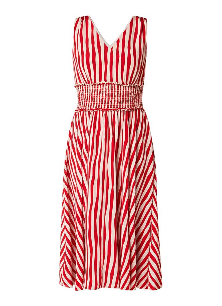 L.K.Bennett Ambery A-lijn jurk van zijde met streepdessin rood