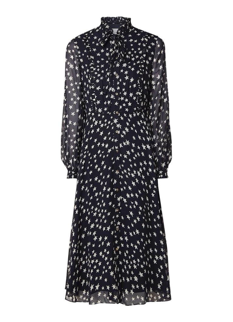 L.K.Bennett Filia midi blousejurk van zijde met sterrendessin donkerblauw