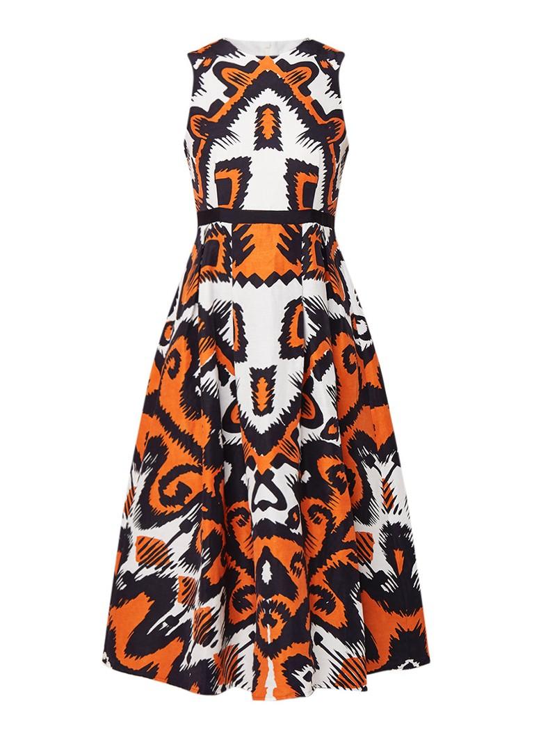 L.K.Bennett Andrea A-lijn jurk in zijde linnenblend oranje