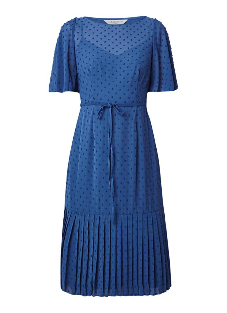 L.K.Bennett Dr Boe jurk met stippendessin en plissé blauw