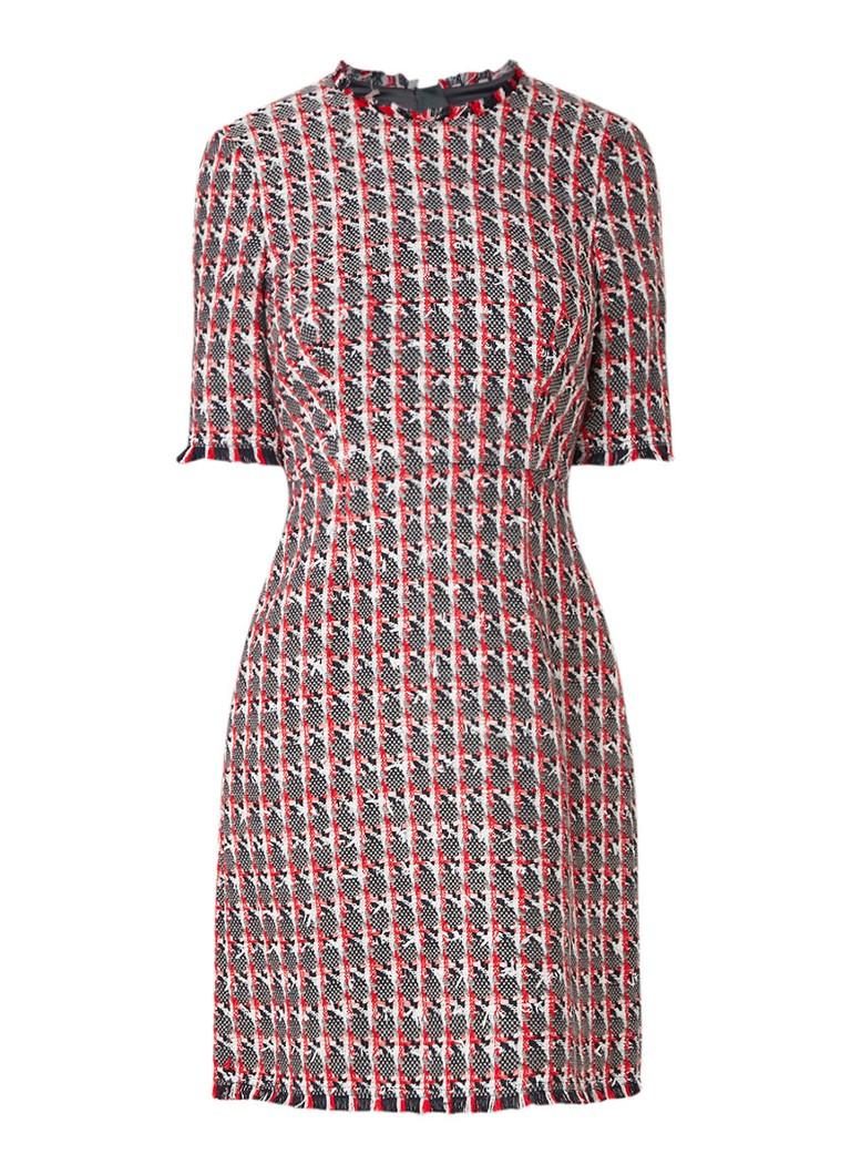 L.K.Bennett Danna jurk van tweed met halflange mouw rood