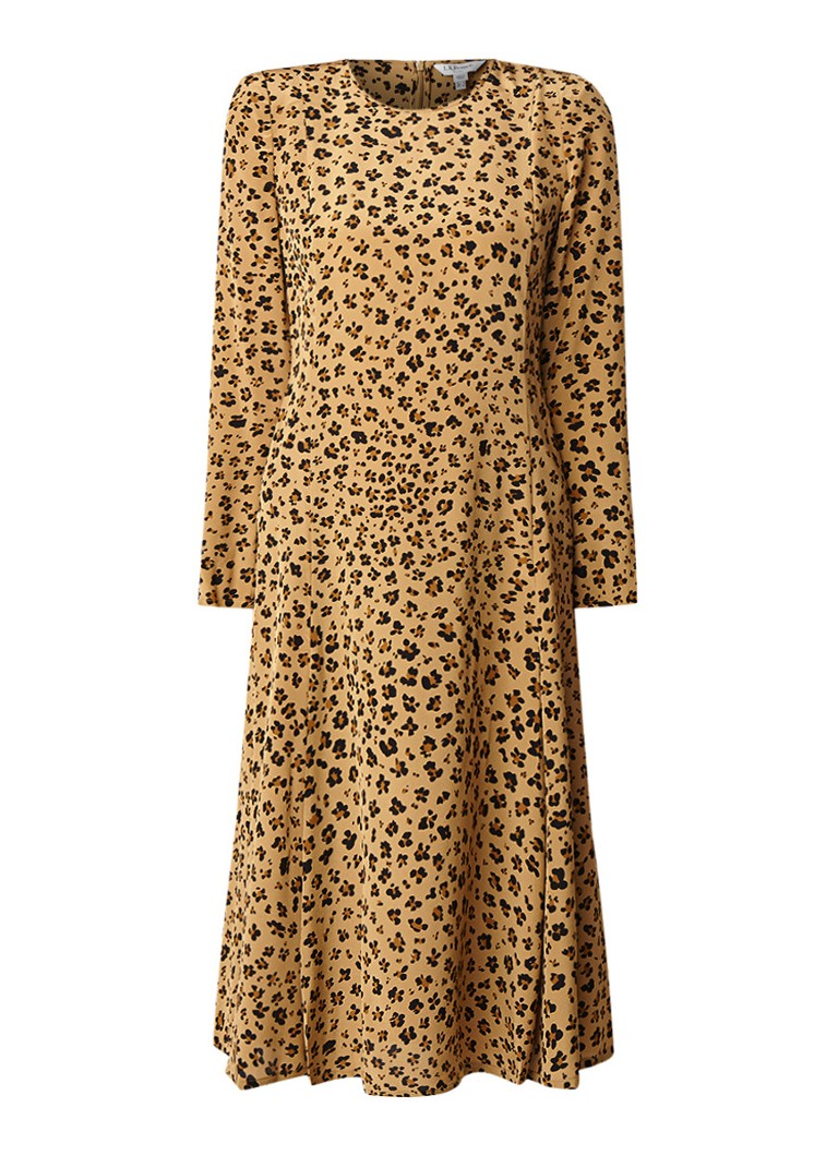 L.K.Bennett Leanie midi-jurk van zijde met luipaarddesin lichtbruin