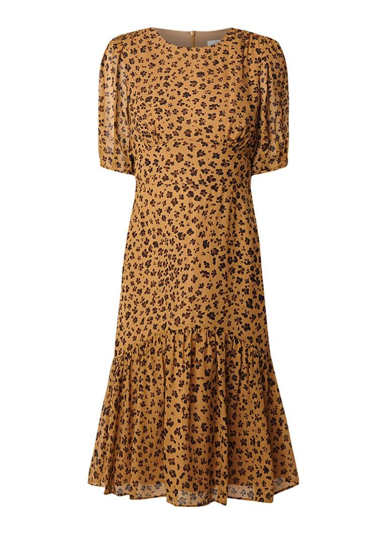 L.K.Bennett Alexa tuniekjurk van zijde met luipaarddesin lichtbruin
