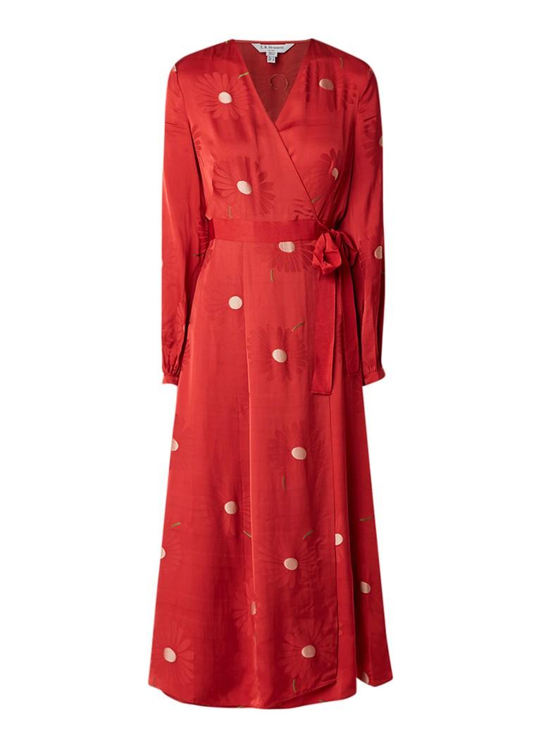 L.K.Bennett Elspeth midi wikkeljurk van satijn met bloemendessin rood