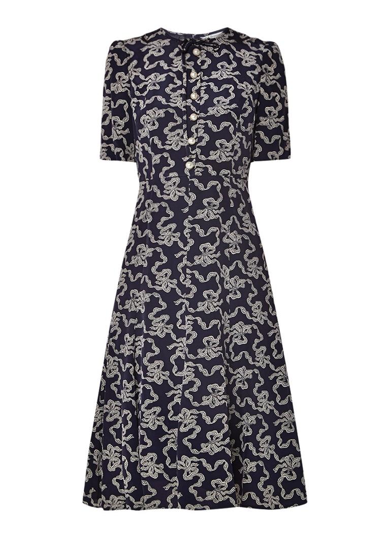 L.K.Bennett Montana A-lijn jurk met imitatieparels donkerblauw