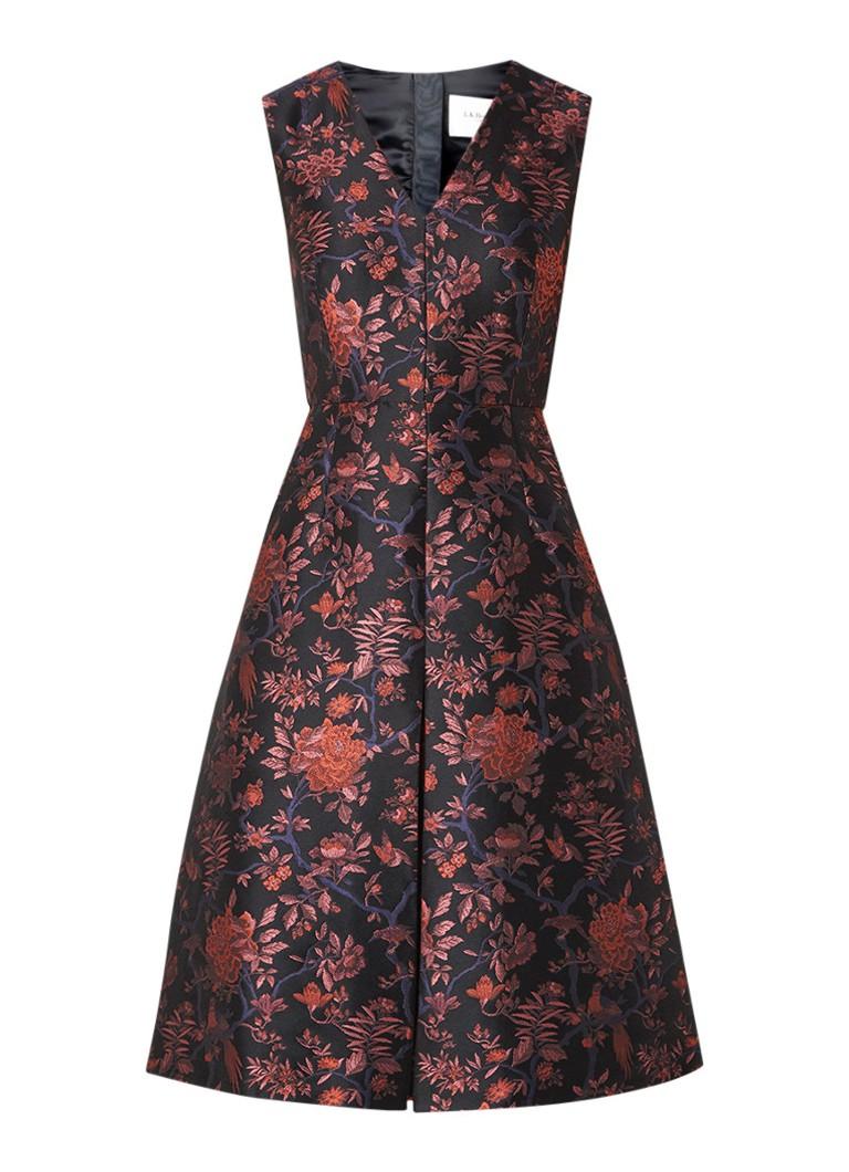L.K.Bennett Delysia A-lijn jurk met jacquard bloemendessin zwart