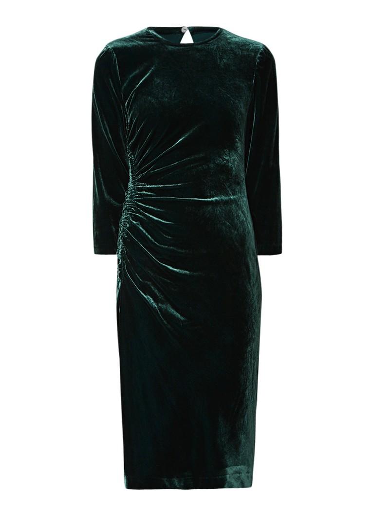 L.K.Bennett Izzy midi-jurk van fluweel donkergroen