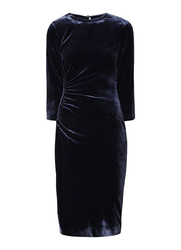 L.K.Bennett Izzy midi-jurk van fluweel donkerblauw
