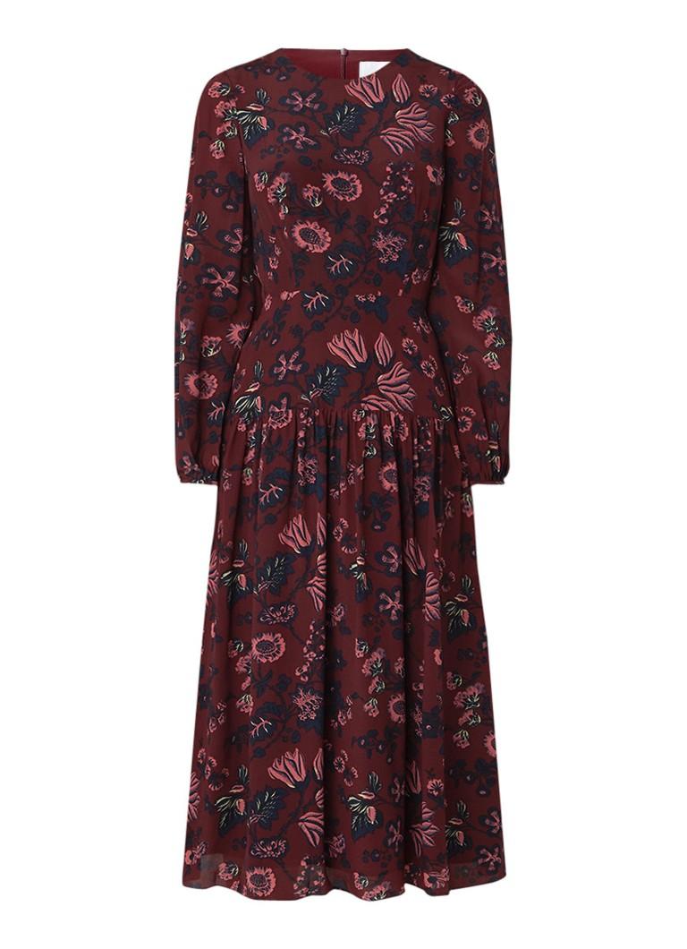 L.K.Bennett Julisa A-lijn jurk van zijde met bloemendessin roodbruin