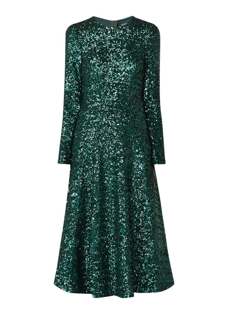 L.K.Bennett Dr Lazia A-lijn jurk van pailletten flessengroen