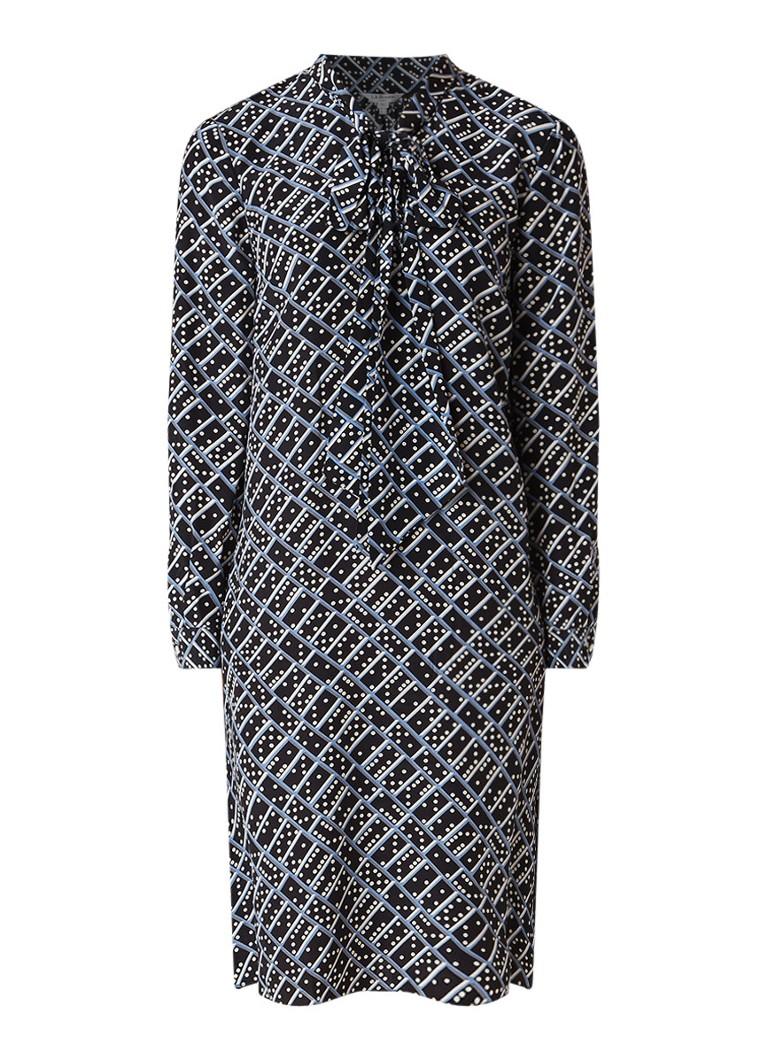 L.K.Bennett Lotte tuniekjurk van zijde met dessin en strikkraag zwart