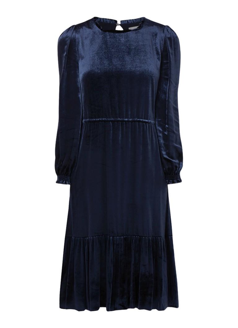 L.K.Bennett Noemi tuniekjurk van fluweel met tunnelkoord donkerblauw