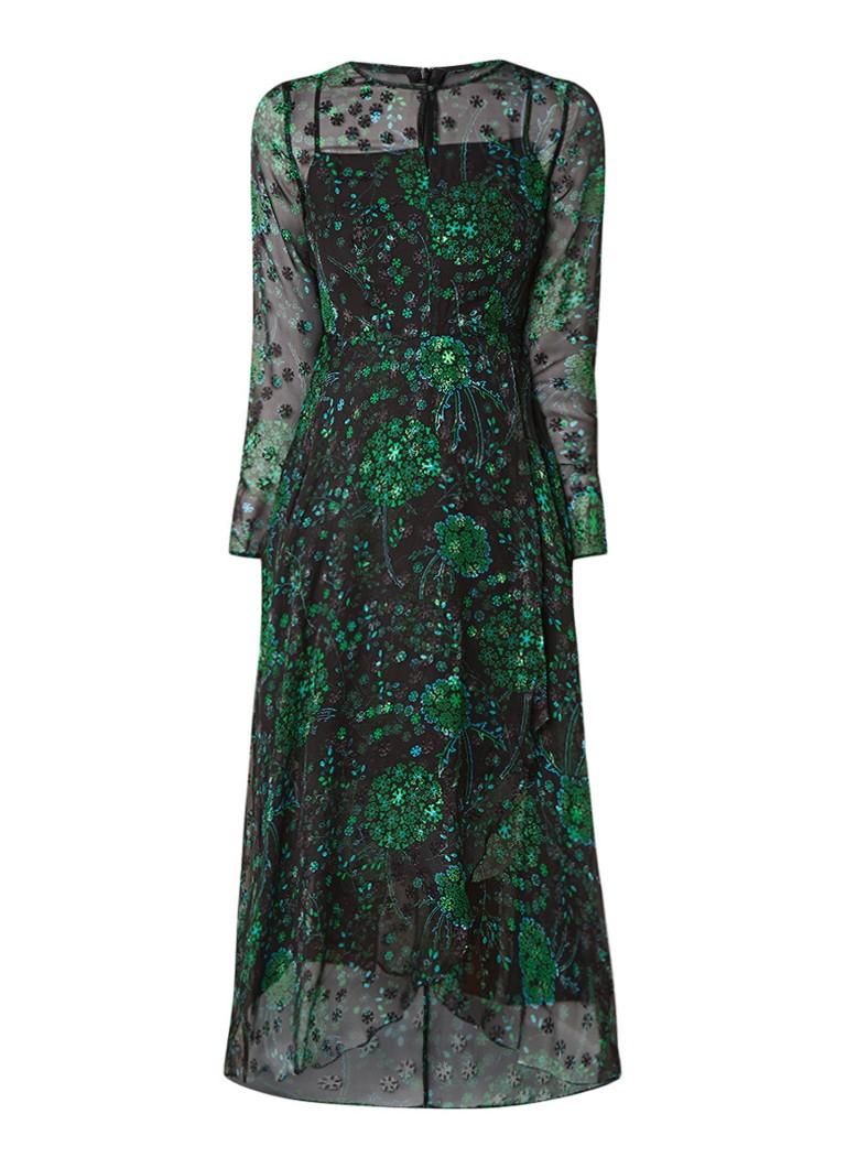 L.K.Bennett Roe semi-transparante maxi-jurk in zijdeblend groen