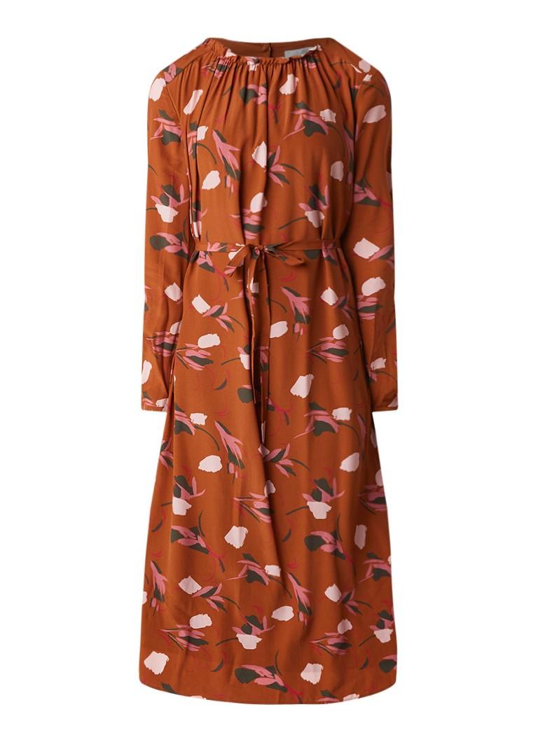 L.K.Bennett Yadis tuniekjurk in zijdeblend met abstract bloemendessin oranjebruin