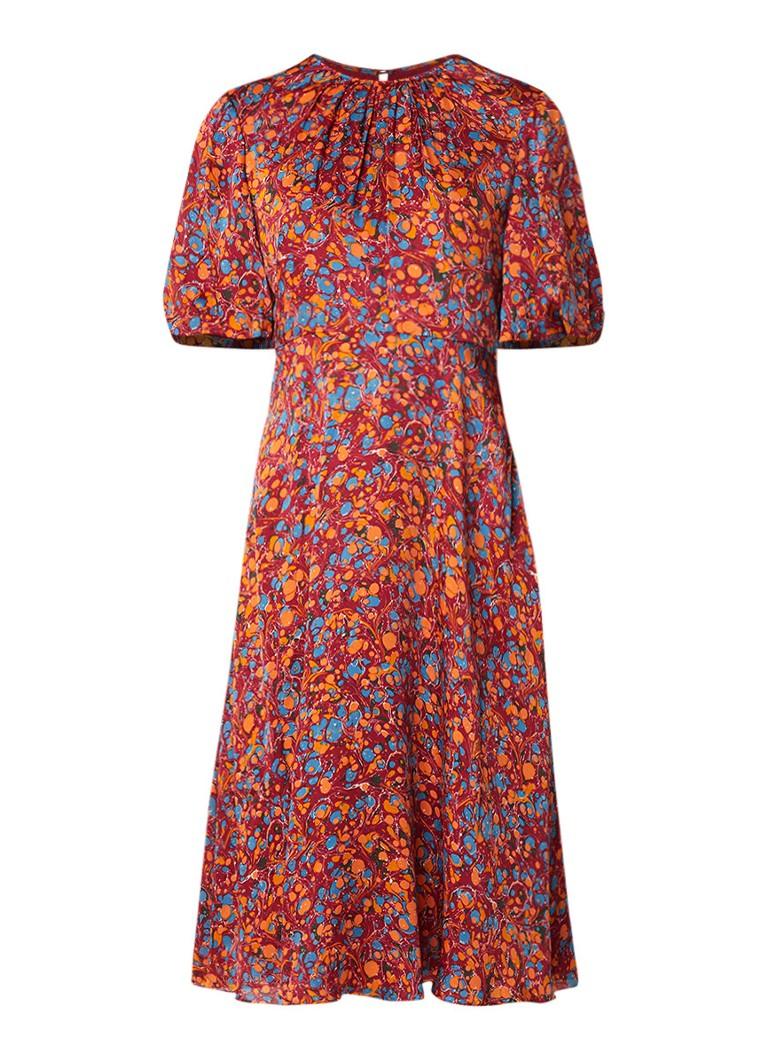 L.K.Bennett Souli blousejurk van zijde met abstract dessin oranjerood