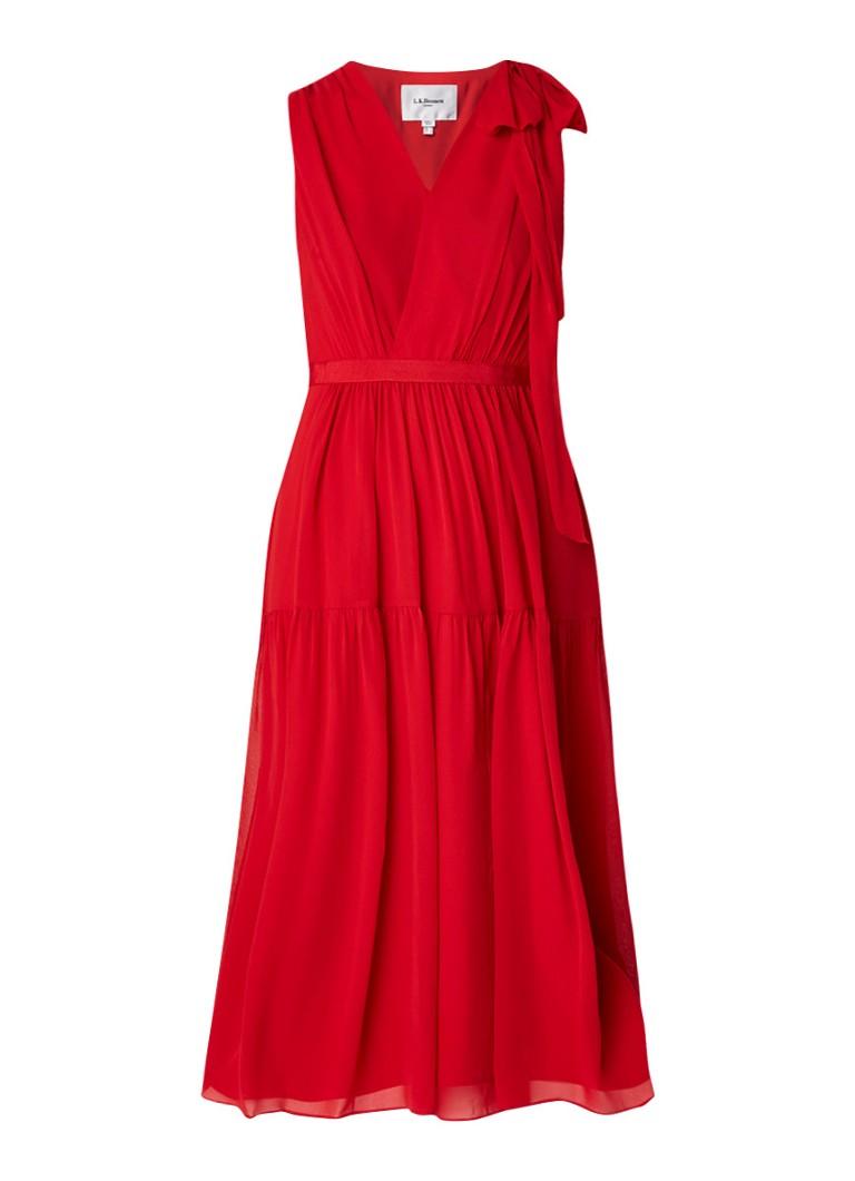 L.K.Bennett Abigail mouwloze midi-jurk van zijde met plissé rood
