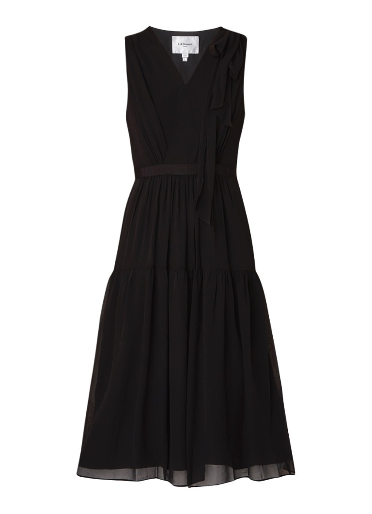 L.K.Bennett Abigail mouwloze midi-jurk van zijde met plissé zwart