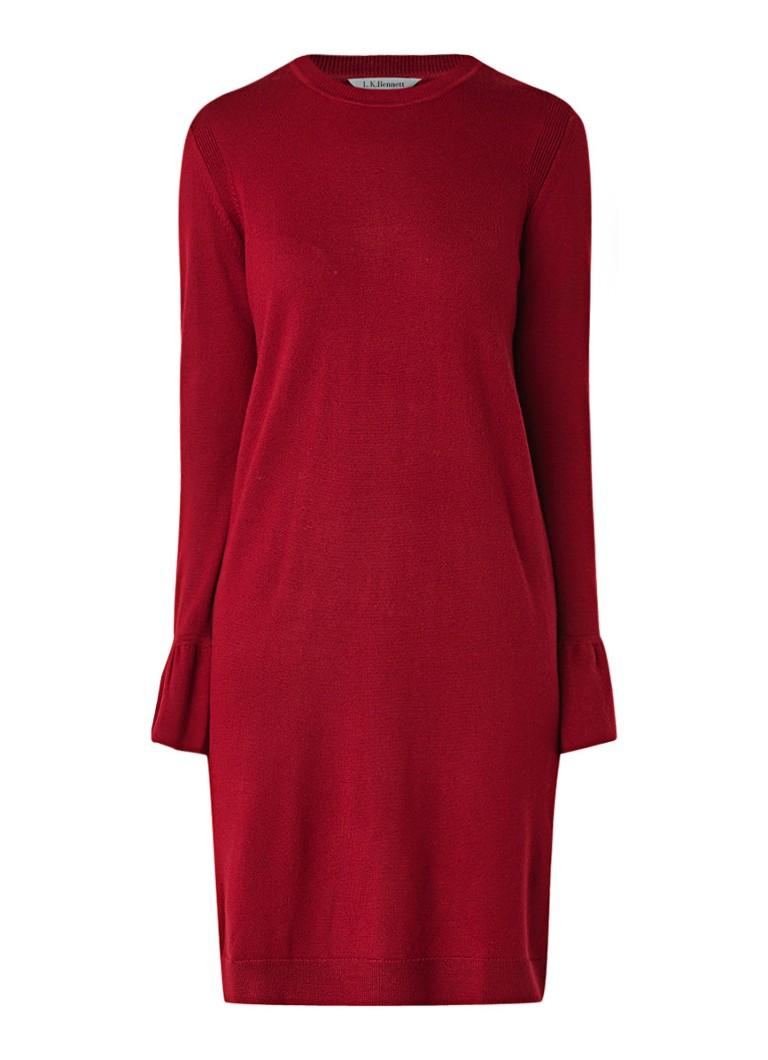 L.K.Bennett Pierina fijngebreide midi-jurk van wol met klokmouw donkerrood