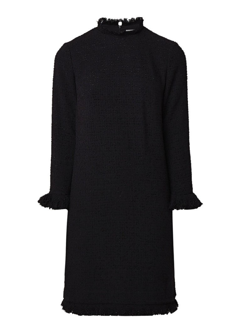 L.K.Bennett Myia tuniekjurk van tweed met gerafelde zoom zwart