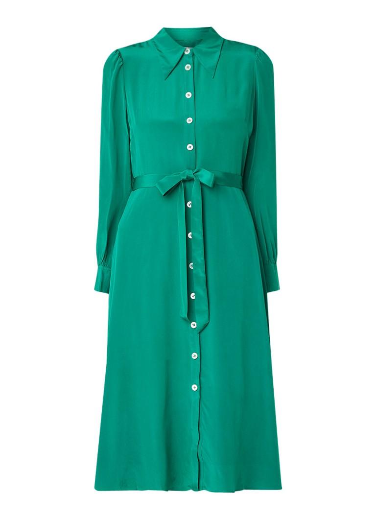 L.K.Bennett Runa blousejurk van zijde met strikceintuur groen