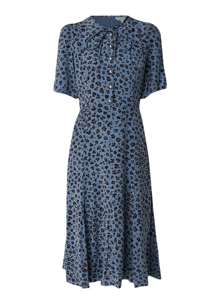 L.K.Bennett Montana midi-jurk van zijde met dessin en sierknopen middenblauw