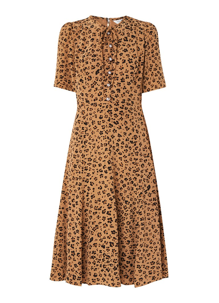 L.K.Bennett Montana A-lijn jurk met parels en luipaarddessin multicolor