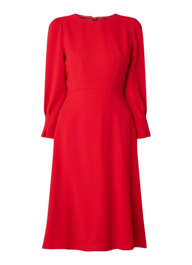 L.K.Bennett Kera A-lijn jurk van crêpe met driekwart mouw rood