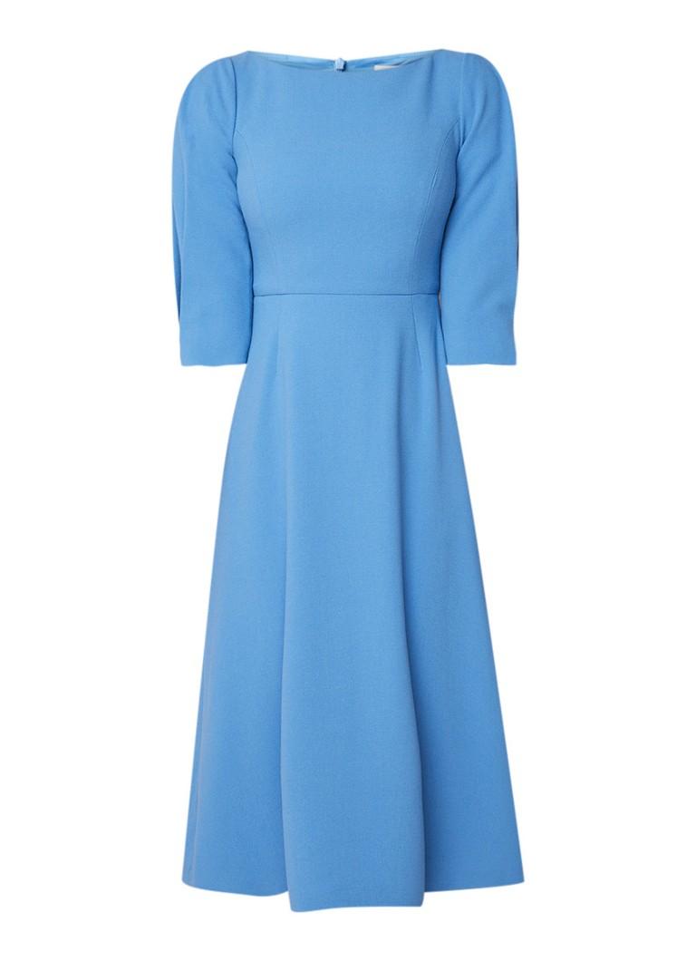 L.K.Bennett Lemoni midi-jurk van crêpe met pofmouw middenblauw