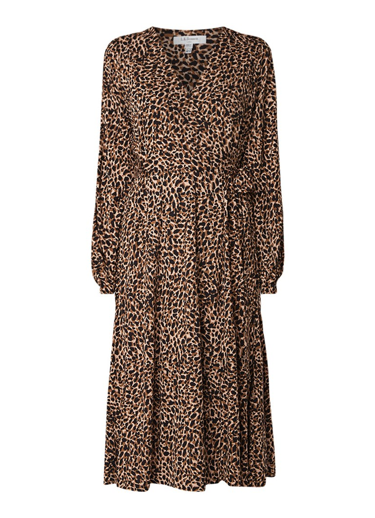 L.K.Bennett Daisy wikkeljurk met luipaarddessin bruin