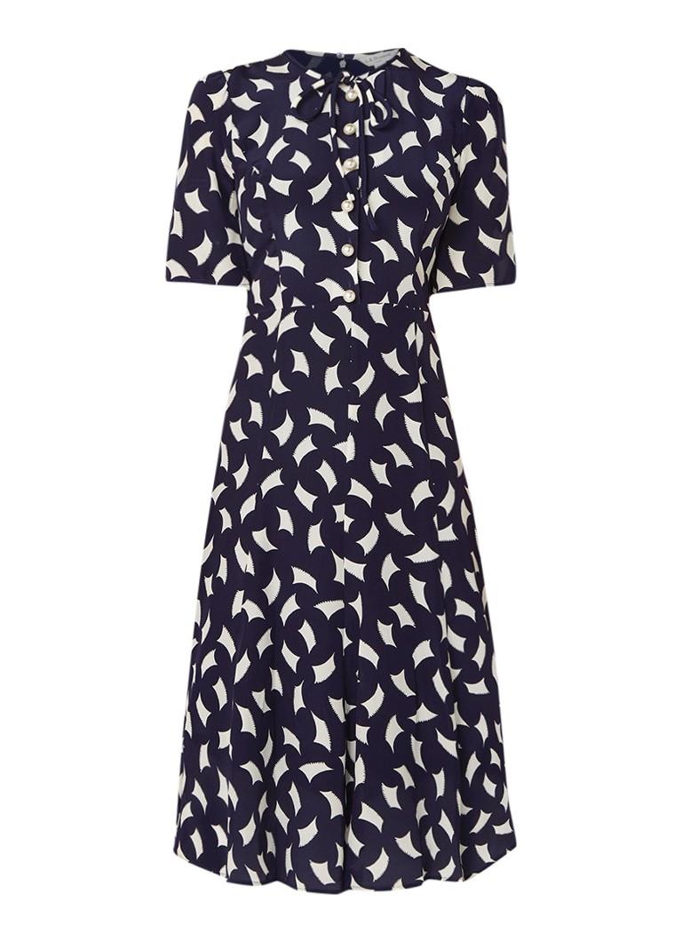 L.K.Bennett Montana A-lijn jurk van zijde met dessin en imitatieparels donkerblauw