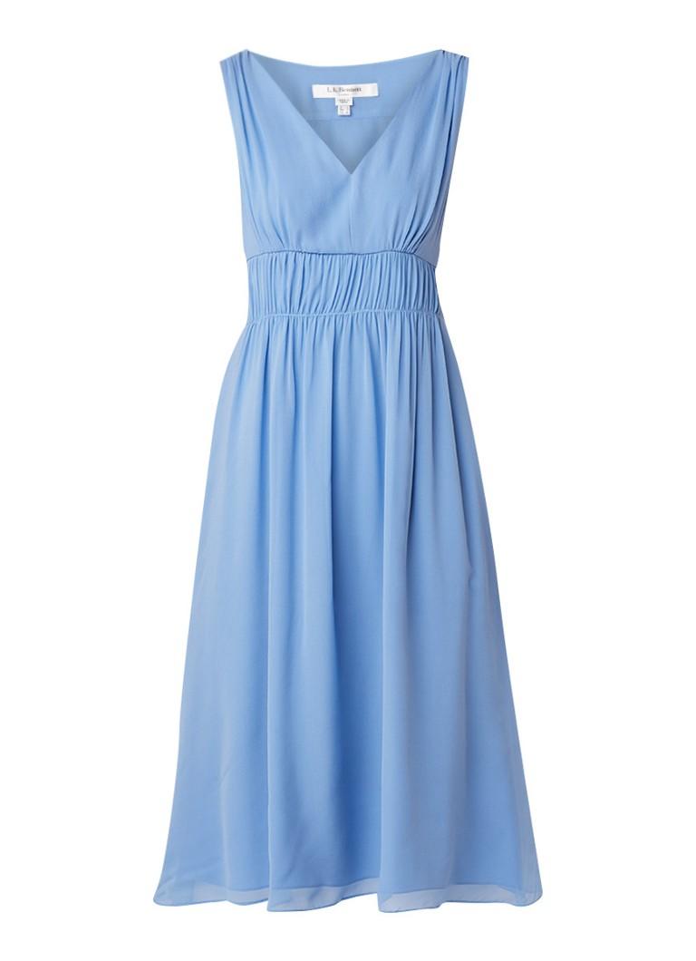 L.K.Bennett Greca midi-jurk van zijde met plooidetail lichtblauw