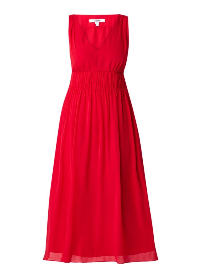 L.K.Bennett Greca midi-jurk van zijde met plooidetails rood