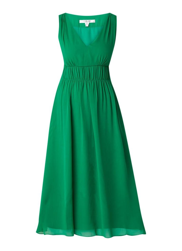 L.K.Bennett Greca midi-jurk van zijde met plooidetails flessengroen