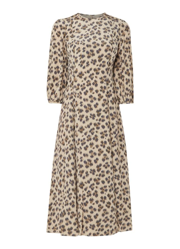 L.K.Bennett Kaia A-lijn jurk van zijde met luipaarddessin lichtbruin